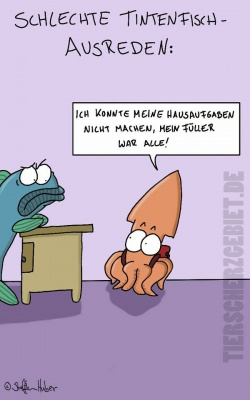 Cartoon Tintenfisch-Ausrede