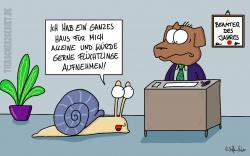 Cartoon Flüchtlingsunterkunft