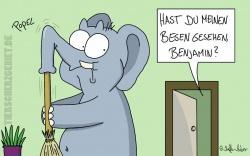 Cartoon Elefant - der Rüssel kratzt